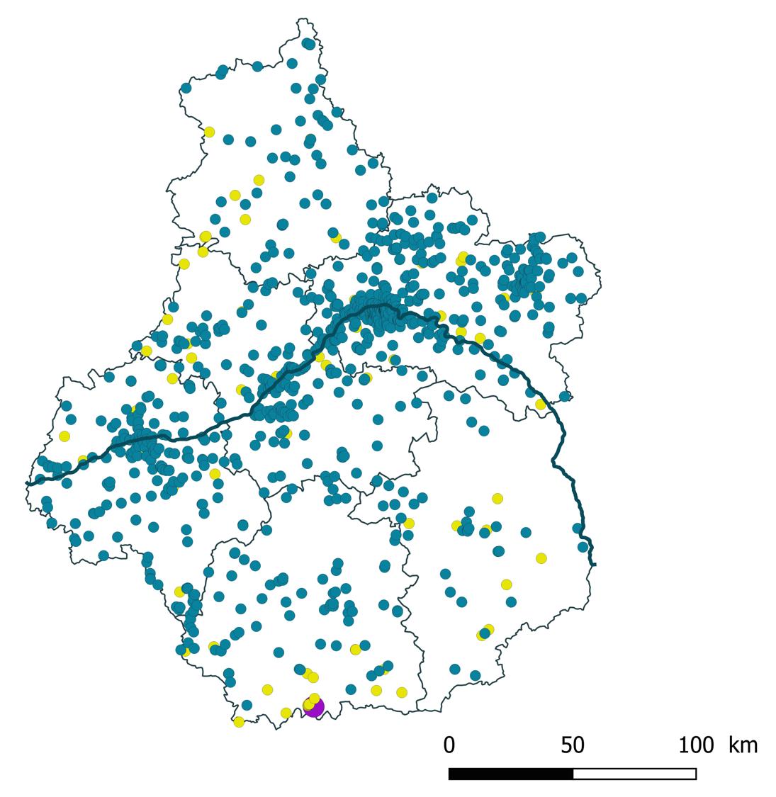 Carte des opérations de géothermie recensées régionalement